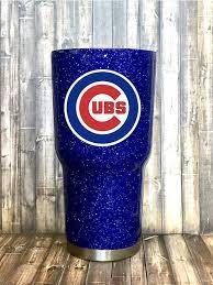 Chicago Cubs Glitter Tumbler Cubs Yeti Cubs Rtic Cubs Yeti Cup Designs Glitter Tumbler Diy Cups