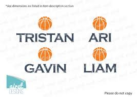 Basketball With Custom Name Vinyl Decal Boys Sports Room Bedroom Tee Airetgraphics