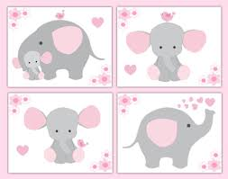 Pink Grey Elephant Nursery Baby Girl Wallpaper Border Wall Art Decal Stickers Baby Nursery Wallpaper Borders