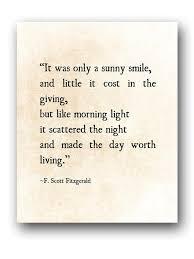 sunny smile f scott fitzgerald quote literary art print