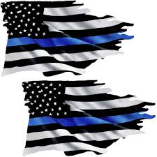 Amazon Com Az House Of Graphics Thin Blue Line Tattered Flag Sticker 2 Pack Fs299 Automotive
