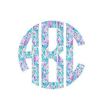 Amazon Com Pattern Circle Monogram Initial Decal Sticker Monogrammed Vinyl Decal For Yeti Tumbler Rtic Cup Laptop Car Window Accessories For Women Custom Size Blue And Pink Crystal Pattern Handmade