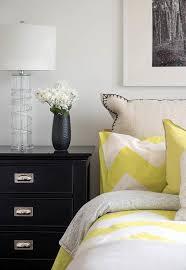 bedroom with yellow chevron bedding