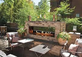 outdoor linear fireplace outdoor
