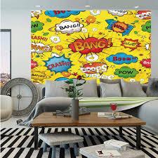 Amazon Com Superhero Huge Photo Wall Mural Humor Speech Bubbles Funky Vivid Bang Boom Bam Pow Fiction Symbols Artful Design Self Adhesive Large Wallpaper For Home Decor 108x152 Inches Multicolor Home Kitchen