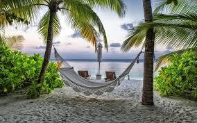 تحميل خلفيات الأراجيح الشاطئ غروب الشمس أشجار النخيل عريضة