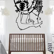 Large Sloth Tree Wall Decals Baby Nursery Kids Room Sloth Animal Forest Jungle Wall Stickers Bedroom Living Room Vinyl Decor Wall Stickers Aliexpress