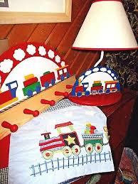 Lot Of 3 Boys Kids Train Theme Room Decor Set Table Lamp Valance Wood Hanger Ebay