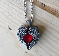 steampunk goth heart shaped necklace