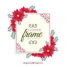 red flower frame background free vector