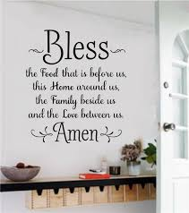 Bless The Food Vinyl Decal Wall Stickers Letters Words Home Decor Gift