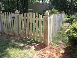 You Won T Have To Worry About Your Pet Getting Loose With This 4 Ft Space Picket Wood Fence With Gothic Post Contemporary Landscape Backyard Fencing Companies