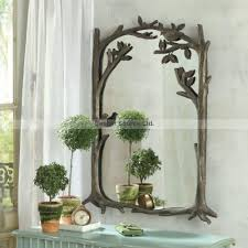 bird branch wall mirror antique mantle