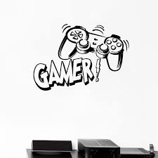 Wall Decal Video Games Boys Gamer Gaming Joysticks Mural Art Vinyl Wall Sticker Teen Boys Bedroom Decoration Leather Bag