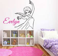 Personalized Name Princess Elsa Wall Decal Frozen Wall Decor Etsy In 2020 Wall Decor Stickers Bedroom Wall Paint Cartoon Wall