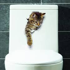 Hole View 3d Cat Vinyl Wall Sticker Decal Bathroom Toilet Living Room Home Decor Walmart Com Walmart Com