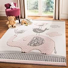 Amazon Com Safavieh Carousel Kids Collection Crk127p Elephant Nursery Playroom Area Rug 8 X 10 Pink Ivory Furniture Decor