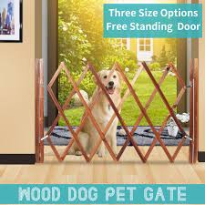 Wooden Folding Indoor Pet Dog Gate Free Standing Safety Fence W Door 3 Sizes Us