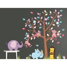 Wall Decal Source Nursery Tree Lion And Elephant Vinyl Wall Decal Wayfair