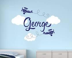 Amazon Com Custom Airplane Name Wall Decal Boys Name Wall Decals Nursery Wall Decals Airplanes Wall Decor Baby
