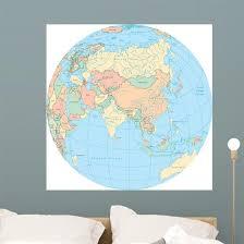 World Political Map Globe Wall Decal Wallmonkeys Com
