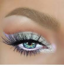 cute white eye makeup for blue eyes