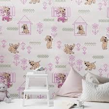 M327 02 Pink Knit Dog Kids Room Nursery Textured Wallpaper Wallcoveringsmart