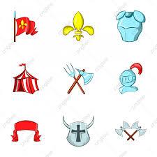 Conjunto De Iconos De Caballero Medieval Estilo De Dibujos