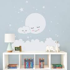 Moon Stars Cloud Wall Decals Cozy Nursery