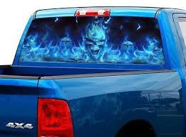 P492 Flaming Skull Rear Window Tint Graphic Decal Wrap Back Truck Tailgate Rear Window Decals Truck Tailgate Rear Window