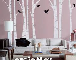Forest Trees With Birds Wall Decal Thin Birch Trees 100 Inches Set Of 6 Vinyl Wall Decal Sticker Kids In 2020 Birch Tree Wall Decal Tree Wall Tree Wall Stickers