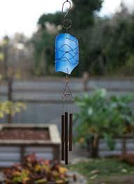 wind chime cobalt blue glass copper