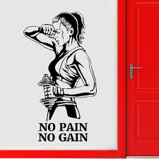 Gym Wall Decal No Pain No Gain Fitness Vinyl Sticker Motivation Art Decor Room Decoration Door E651 Y200103 Wall Art Vinyl Decals Wall Art Vinyl Stickers From Shanye10 8 44 Dhgate Com