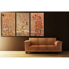 Triptych Canvas Print Reproduction The Tree Of Life By Gustav Klimt Home Photo Deco Com