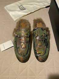 gucci princetown men jacquard silk fur