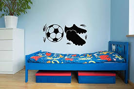 Amazon Com Fsds Sneakers Football Wall Art Stickers Soccer Football Ball Vinyl Wall Decals For Men And Boys Sports Decals Grass Vinyl Wall Decals For Bedroom Play Room Locker Room Man