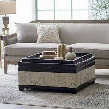 square linen upholstered coffee table