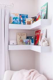 9 Sneaky Ways To Add Storage To A Nursery Nursery Shelf Decor Nursery Shelves Floating Corner Shelves