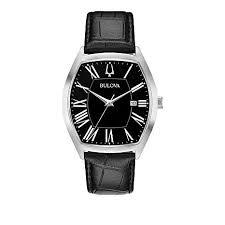 black leather strap watch