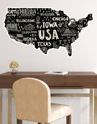 Hand Drawn Illustration Of Usa Map Graphic Wall Decal Sticker 6104 Stickerbrand