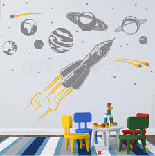 Solar System And Spaceship Wall Decals Mural Graphicsmesh