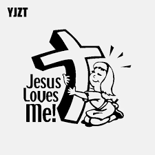 Yjzt 15 6cm 14 1cm Car Sticker Religious Vinyl Decal Christian Jesus Loves Me Black Silver C3 1326 Car Stickers Aliexpress