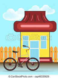 Suburban House Front View Building And Bicycle With Wooden Fence Vector Cartoon Illustration
