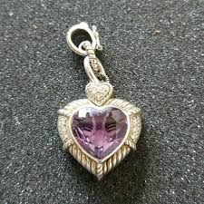 purple amethyst heart drop pendant