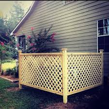 Lattice Fence To Hide Hvac Unit And Can Be Used As A Trellis To Grow Flowers I Plan To Add A Light To The Front 2 Poles To Backyard Fences Backyard
