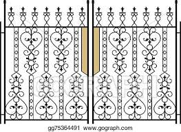 Eps Vector Wrought Iron Gate Door Fence Window Grill Railing Design Stock Clipart Illustration Gg75364491 Gograph