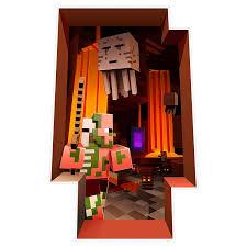 Minecraft Decal Wall Cling The Nether Character Graphics Room Decoration 3d Scene Vinyl Block Zombie Pigman Ghast Mobs Creatures Walmart Com Walmart Com
