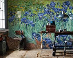 Large Iris Wallpaper Mural Wallpaper Print Van Gogh Wall Paper Floral Wallpaper Wall Art Decor Removable Iris Wallpaper Dutch Painting Mural Wallpaper Wallpaper World Map Decor