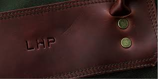 leather with embossing or engraving