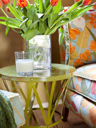 Green Steel Side Table With Tulips In Contemporary Kids Room Hgtv